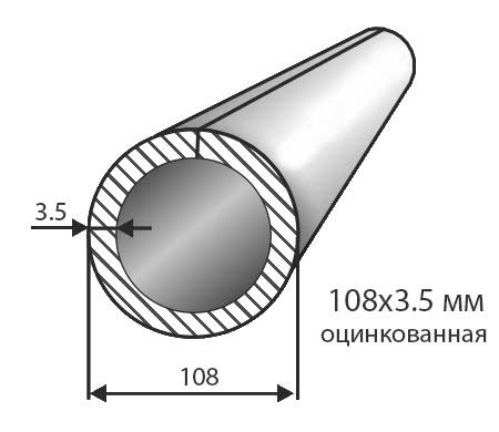 Труба № 108х3,5 оцинкованная